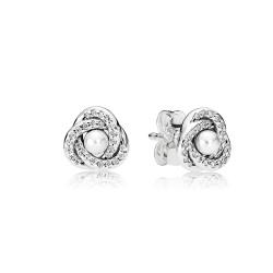 Srebrne kolczyki Pandora - Biały Perłowy Kryształ 290740WCP