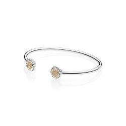 Srebrna bransoletka Pandora - bangle otwarta z Logo 596274CZ