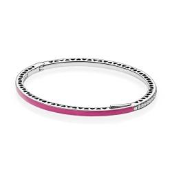 Srebrna bransoletka Pandora - Bangle różowa z cyrkoniami 590537EN69