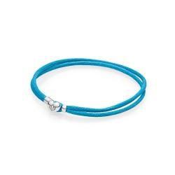 Podwójna Bransoletka Pandora Moments - materiałowa, turkusowa 590749CTQ