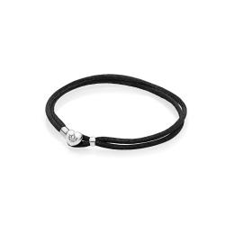 Podwójna Bransoletka Pandora Moments - materiałowa, czarna 590749CBK
