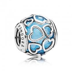 Charms Pandora - Błękitne Miłosne Serca 792036NBS