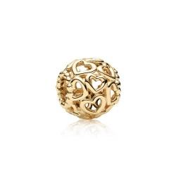 Zawieszka Pandora z 14k złota - Ażurowe serca 750964