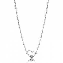 Naszyjnik Pandora z zawieszką - Asymetryczne serce 397797CZ-45