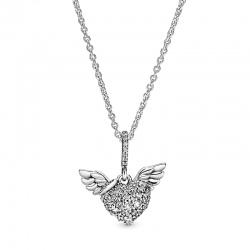 Naszyjnik Pandora - Z sercem pavé i anielskimi skrzydłami  398505C01-45