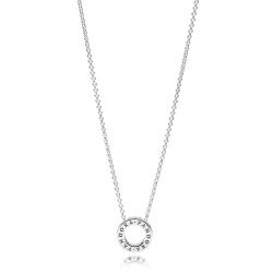 Naszyjnik Pandora z okrągłą zawieszką z logo 397436CZ