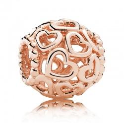 Charms Pandora - Różowe Ażurowe Serduszka 780964