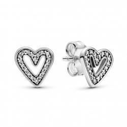 Kolczyki Pandora - Lśniące asymetryczne serca 298685C01