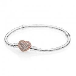 Srebrna bransoletka - Pandora Rose Zapięcie z Cyrkoniami 586292CZ