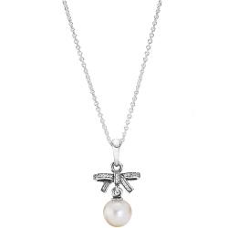 Naszyjnik z zawieszką, cyrkonia sześcienna, perła 70cm