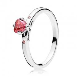 Pierścionek Pandora - Lśniące czerwone serce 196574CZRMX