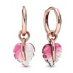 Kolczyki Pandora Rose - Z listkami z różowego szkła Murano 288317PMU