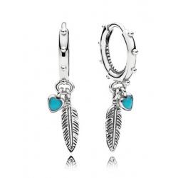 Kolczyki Pandora - Koła z piórami i turkusowymi serduszkami 297205EN168