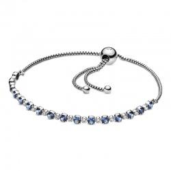 Srebrna bransoletka Pandora - Błękitny i przezroczysty blask 598517C01