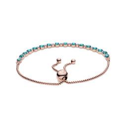 Srebrna bransoletka Pandora Rose - Tenisowa z lśniącymi turkusowymi kamieniami 588961C01