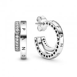 Kolczyki Pandora - Podwójne obręcze pavé 299056C01