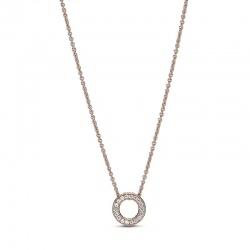 Naszyjnik Pandora Rose - Błyszczące pavé z logo 387436C01-45