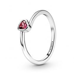 Pierścionek Pandora - Czerwone pochylone serce 199267C01