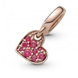 Zawieszka Pandora Rose - Czerwone pochylone serce pavé 789404C02