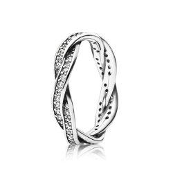 Srebrny pierścionek Pandora, plecione pavé