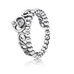 Pierścionek Pandora, srebrna tiara z cyrkoniami